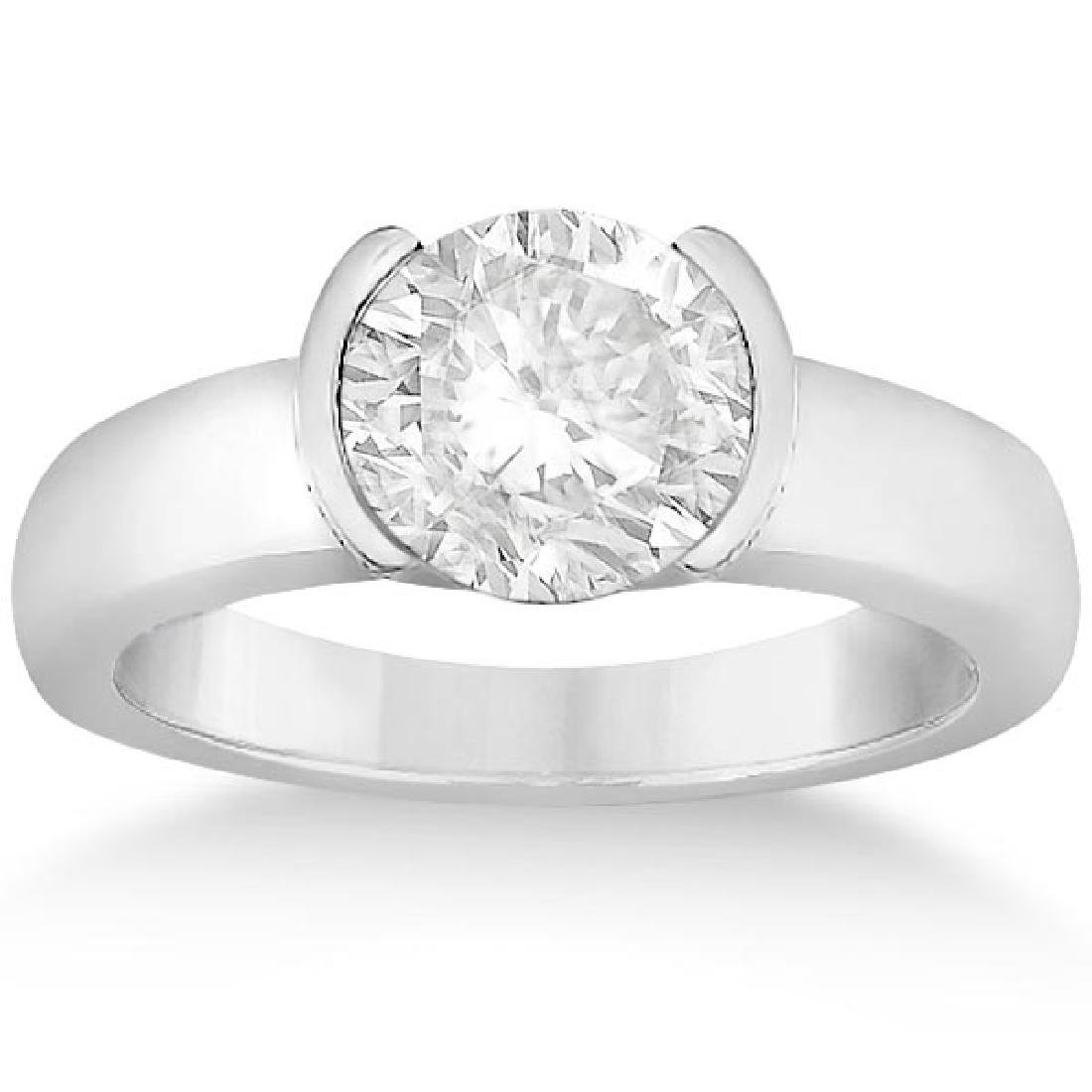 Half-Bezel Solitaire Engagement Ring Setting in Platinu