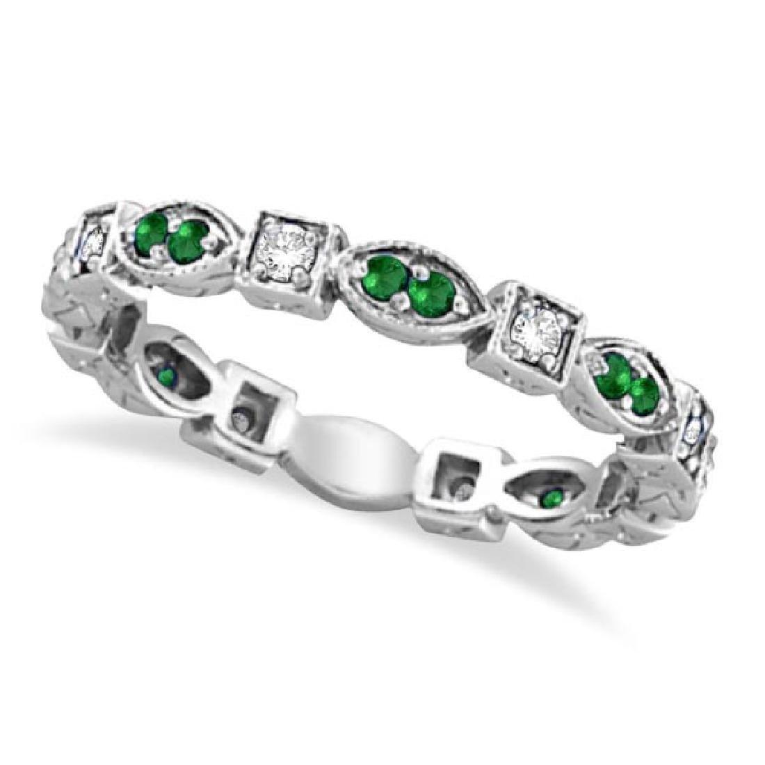 Emerald and Diamond Eternity Ring Anniversary Band 14k