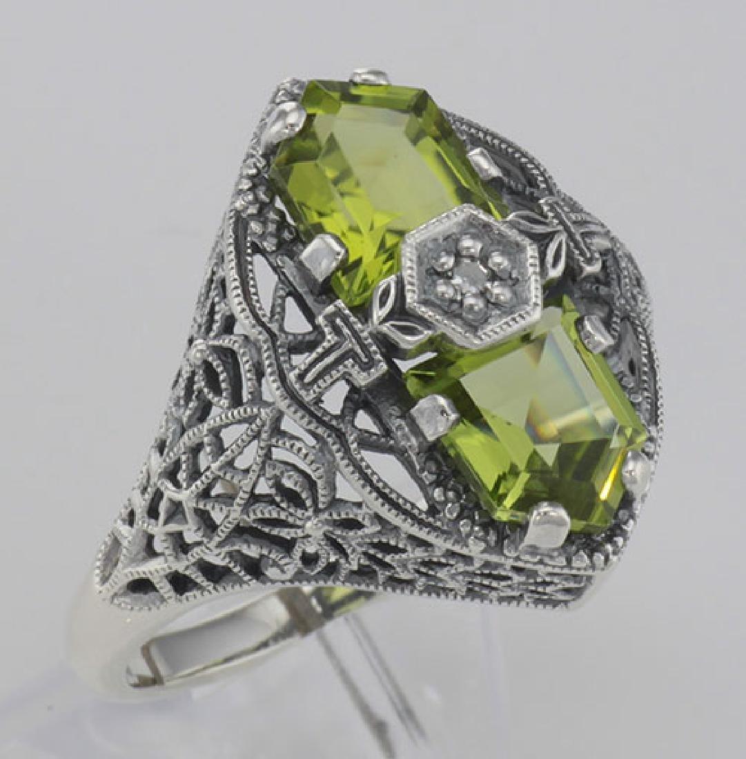 Art Deco Style 2 Stone Peridot and Diamond Filigree Rin