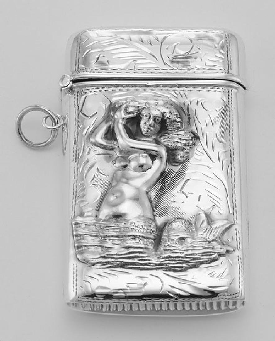 Etched Mermaid Repousse Match Safe Vesta Case Holder -