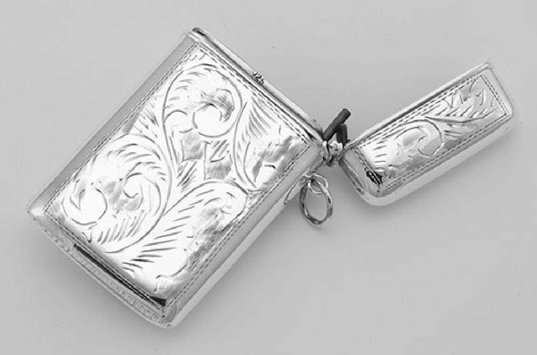 Etched Mermaid Repousse Match Safe Vesta Case Holder - - 3