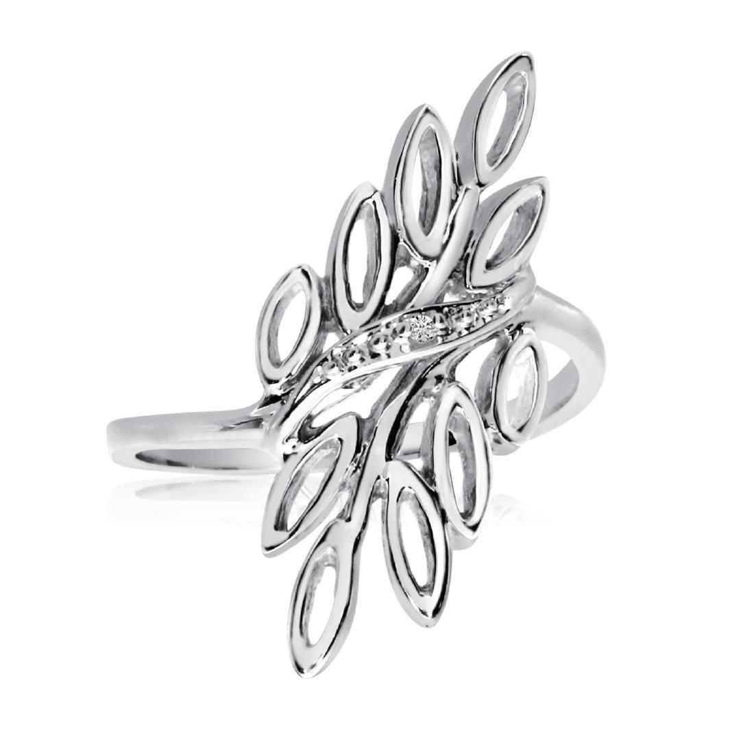 Certified 14K White Gold Diamond Leaf Ring 0.005 CTW