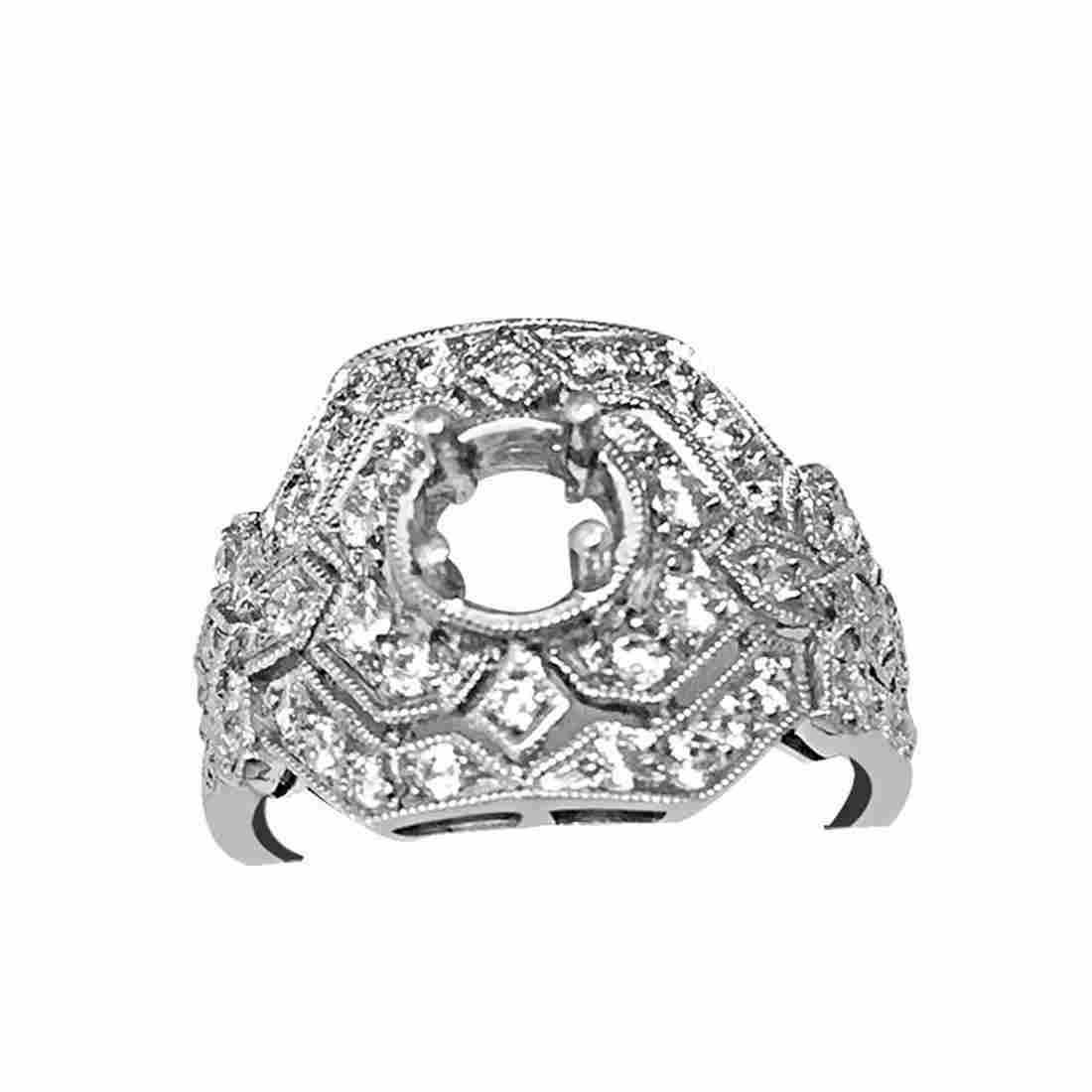 .91 CTW DIAMOND SEMI MOUNT RING IN 14K WHITE GOLD G-H/S