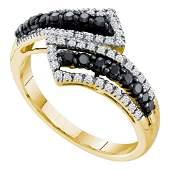 14k Yellow Gold Womens Round Black Color Enhanced Diamo