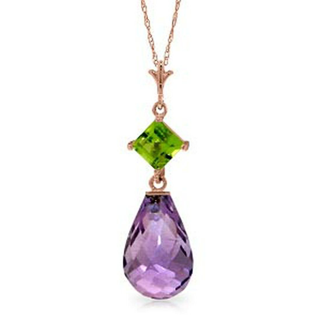 14K Solid Rose Gold Necklace with Peridot & Purple Amet