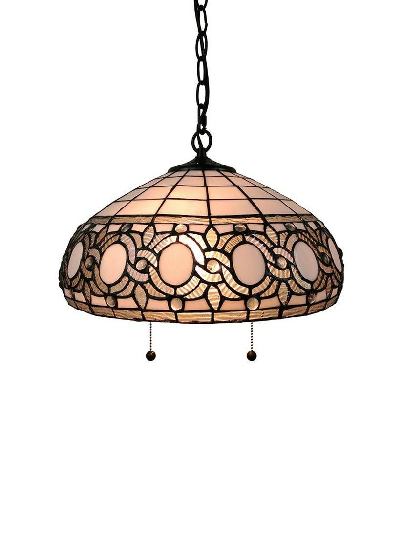 LIGHTING AM298HL16 TIFFANY STYLE WHITE HANGING LAMP 16