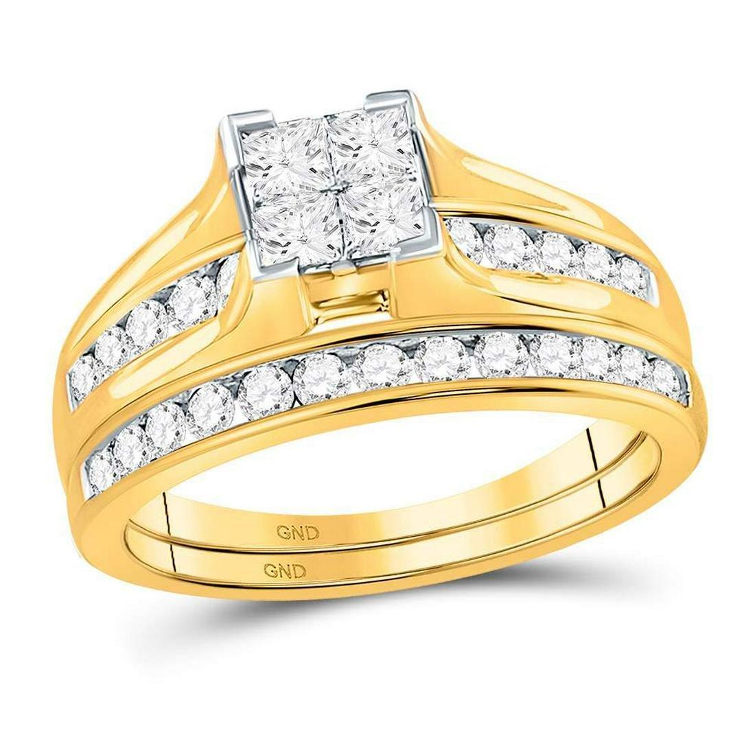 14k Yellow Gold Princess Diamond Bridal Wedding Engagem