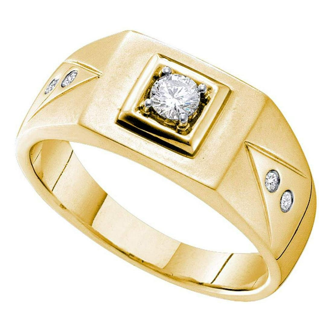14k Yellow Gold Mens Round Diamond Solitaire Square Wed