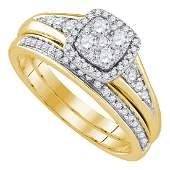 14k Yellow Gold Round Diamond Halo Womens Bridal Weddin