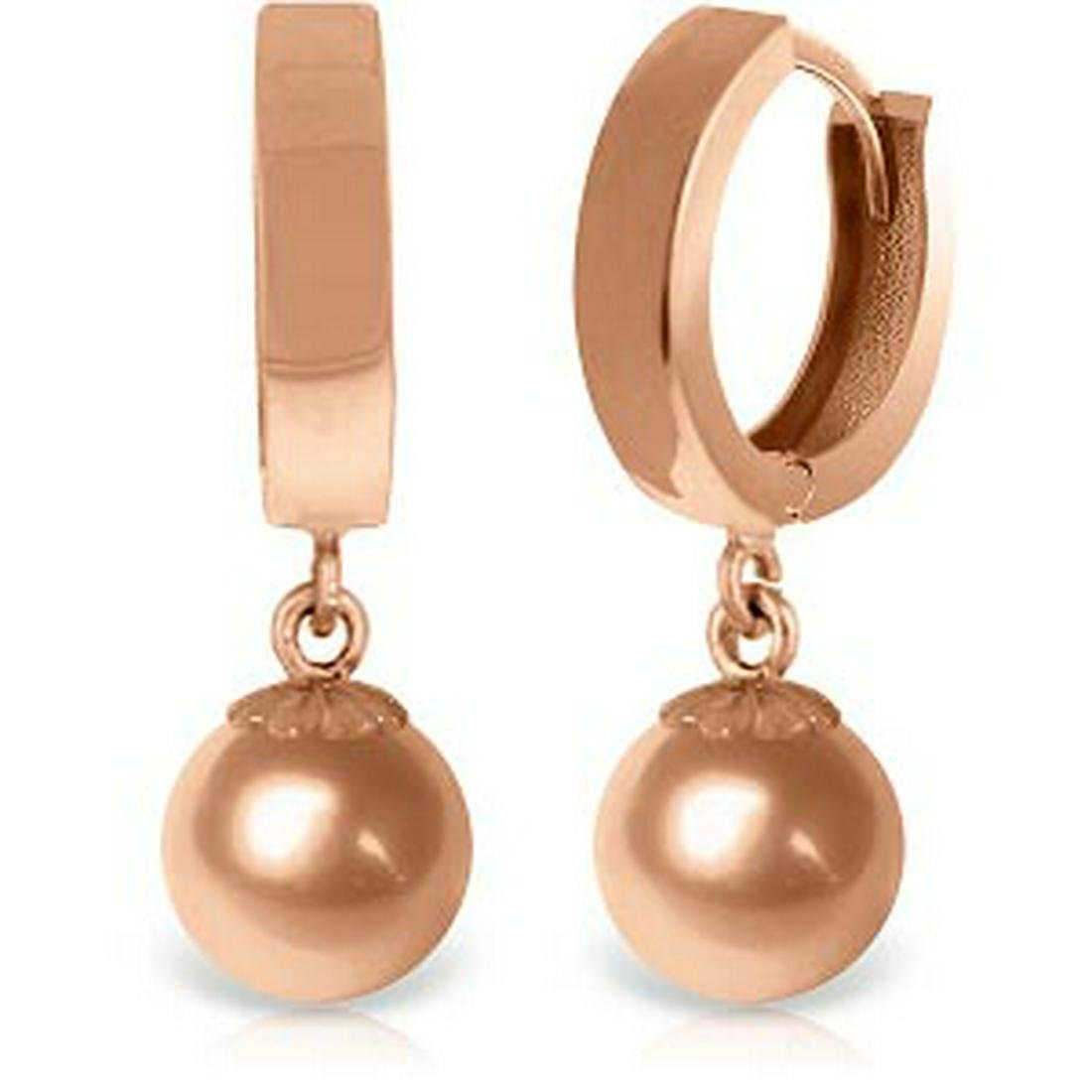 14K Solid Rose Gold Huggie Earrings Ball Drop Hoops