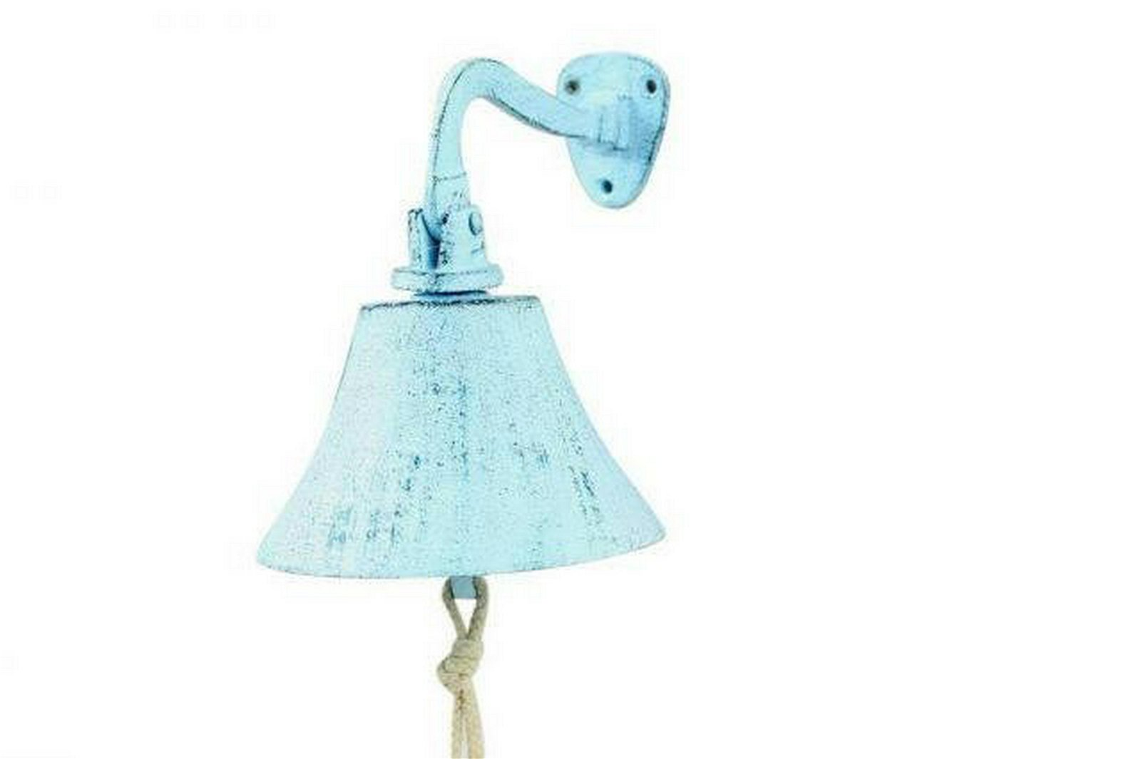 Dark Blue Whitewashed Cast Iron Hanging Ships Bell 6in.