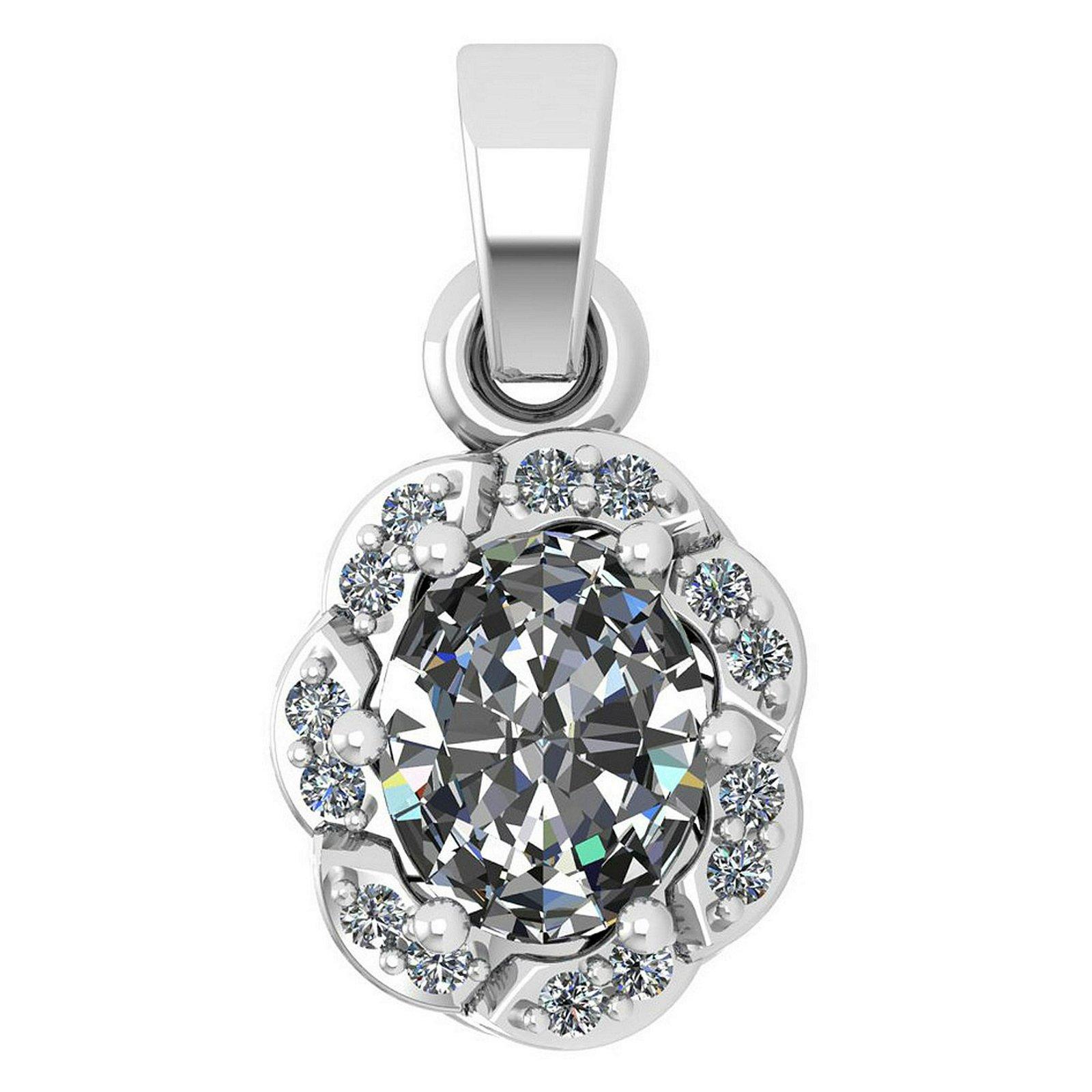 Certified 0.38 Ctw Diamond 14K White Gold Simple Pendan
