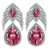 Certified 738 Ctw Pink Tourmaline And Diamond Pear Sha