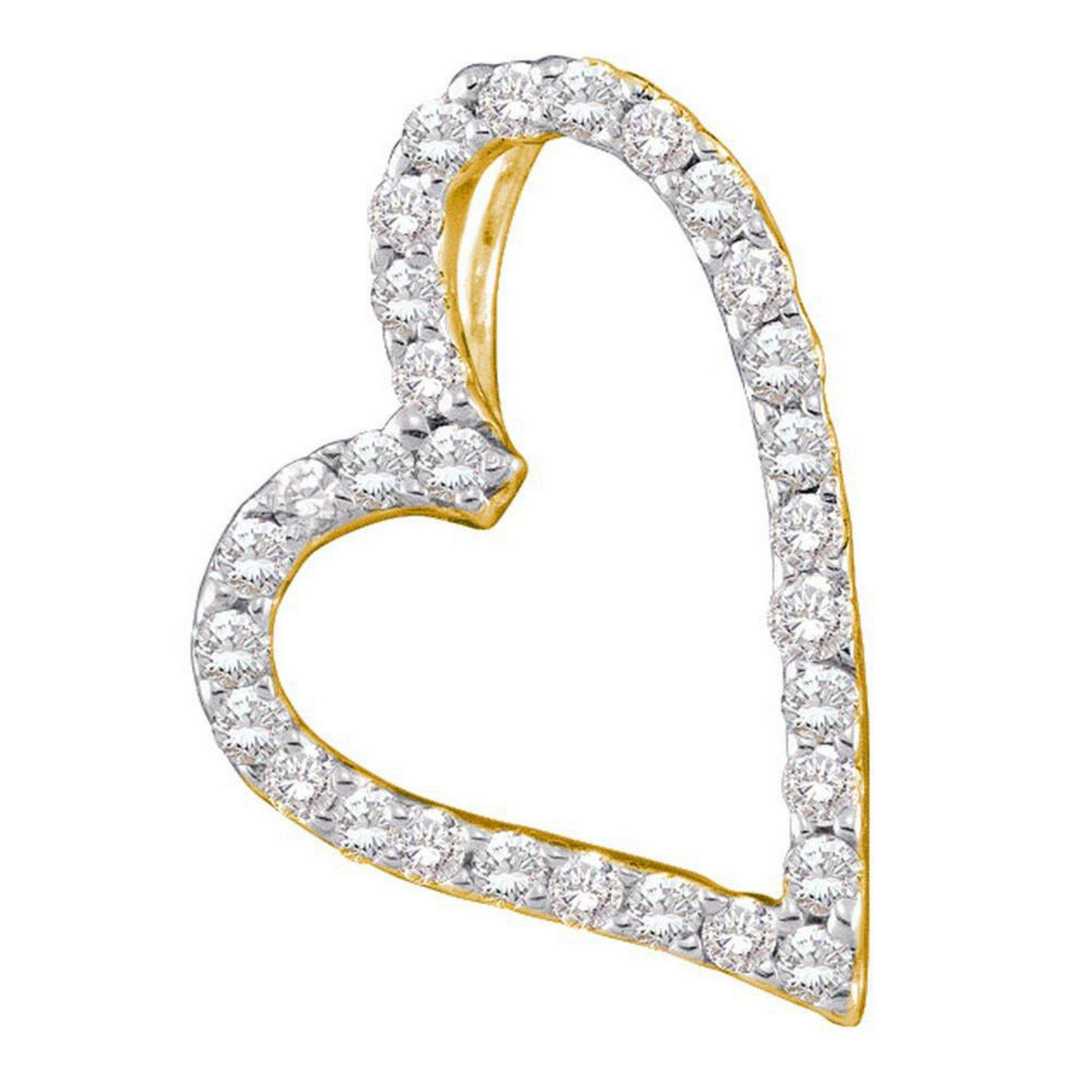 14kt Yellow Gold Womens Round Diamond Sideways Heart Fr