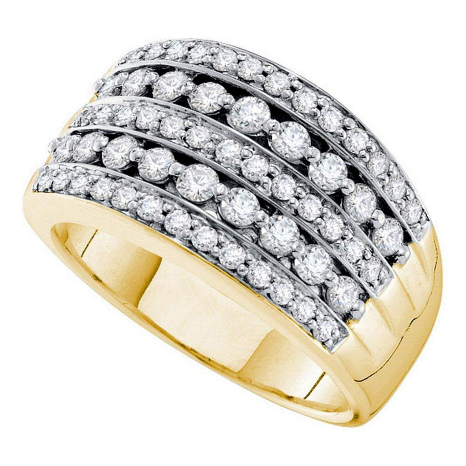 14kt Yellow Gold Womens Round Diamond Striped Fashion B