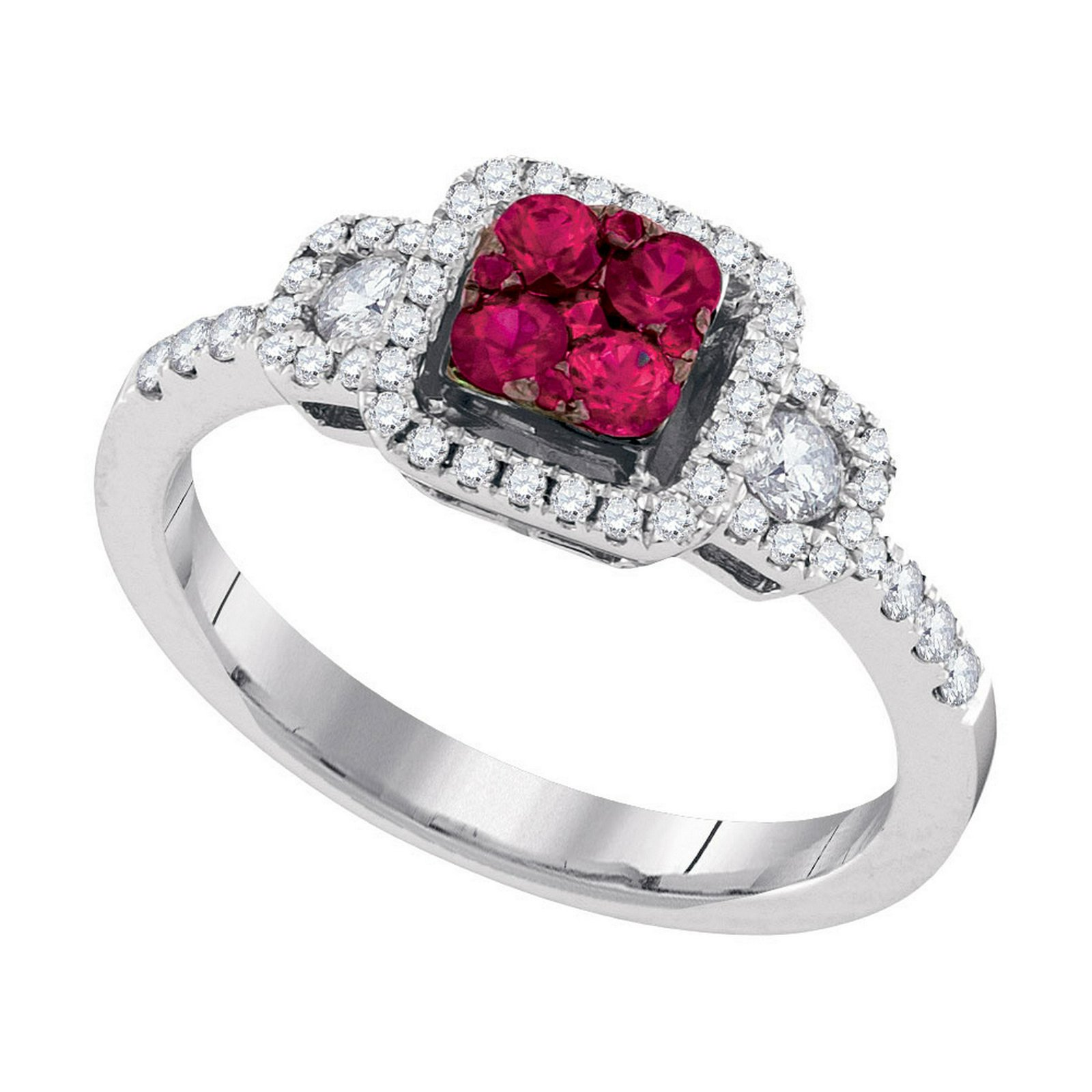 14kt White Gold Womens Round Natural Ruby Cluster Fashi