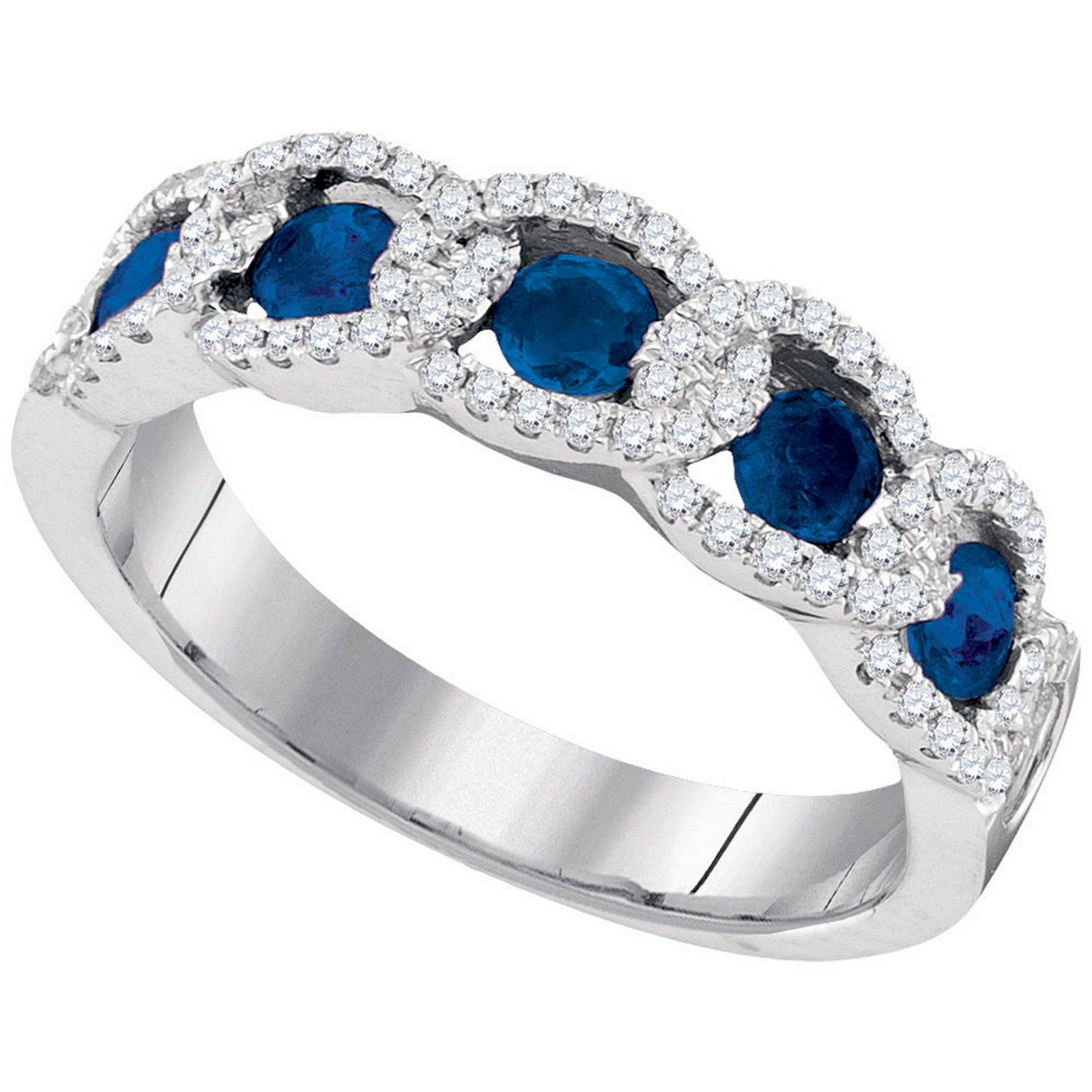 Ladies 14K White Gold Cuban Chain Blue Sapphire Diamond
