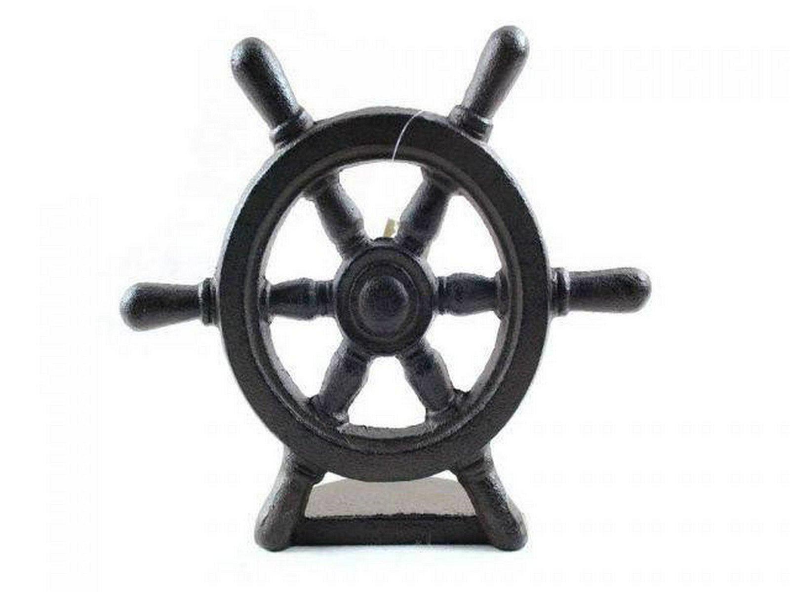 Cast Iron Ship Wheel Door Stopper 9in.