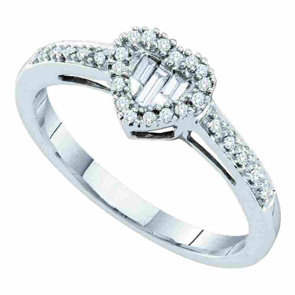 14k White Gold Womens Round Baguette Diamond Heart Clus