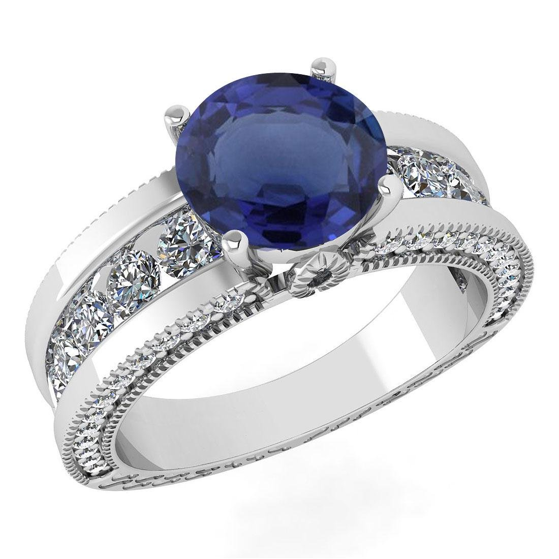 Certified 2.24 Ctw Blue Sapphire And Diamond Wedding/En