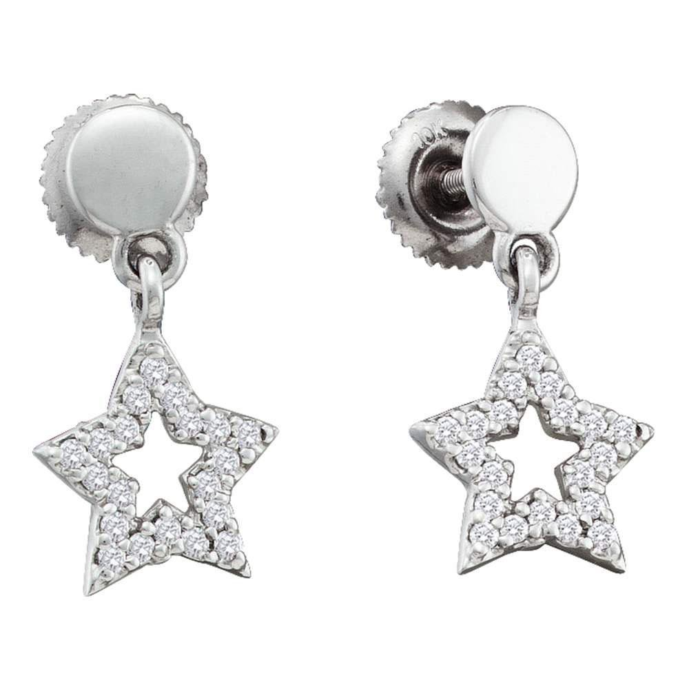 10k White Gold Womens Round Diamond Star Dangle Screwba