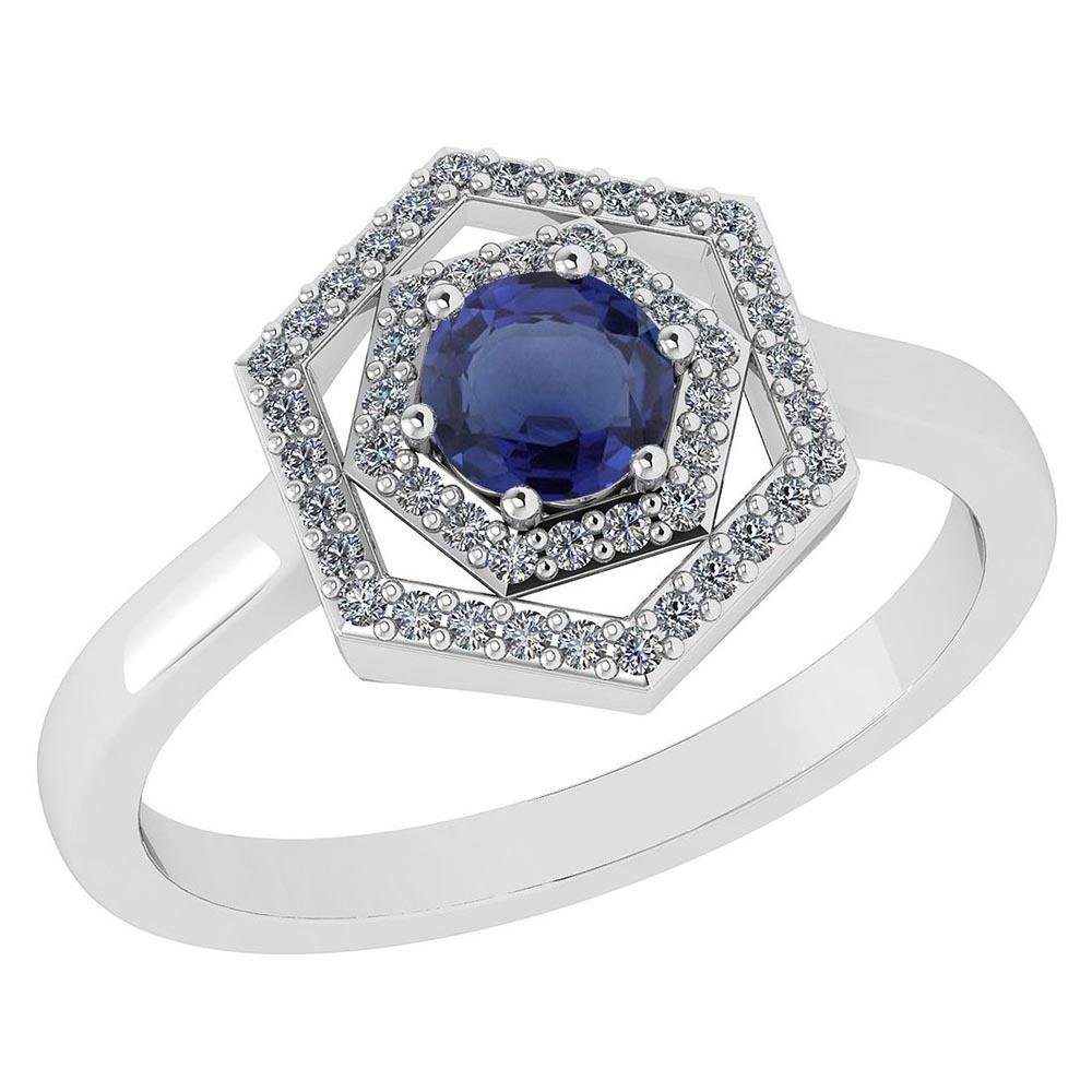 Certified 0.69 Ctw Blue Sapphire And Diamond Platinum H