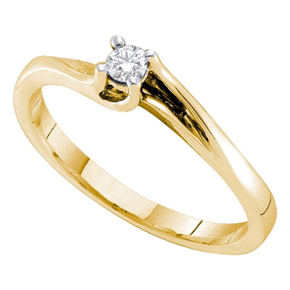 14k Yellow Gold Womens Round Diamond Solitaire Promise