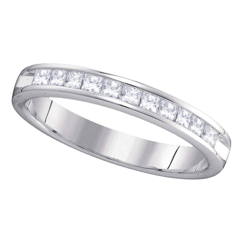 14kt White Gold Womens Princess Diamond Single Row Wedd