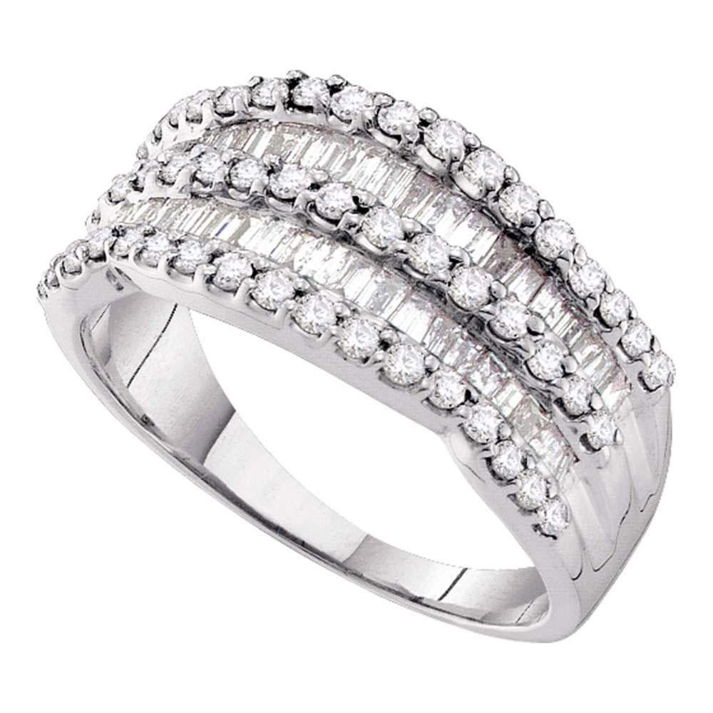 14k White Gold Womens Round Baguette Diamond Striped Co