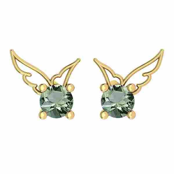 Certified 0.50 Ctw Green Amethyst Stud Earrings 14K Gol