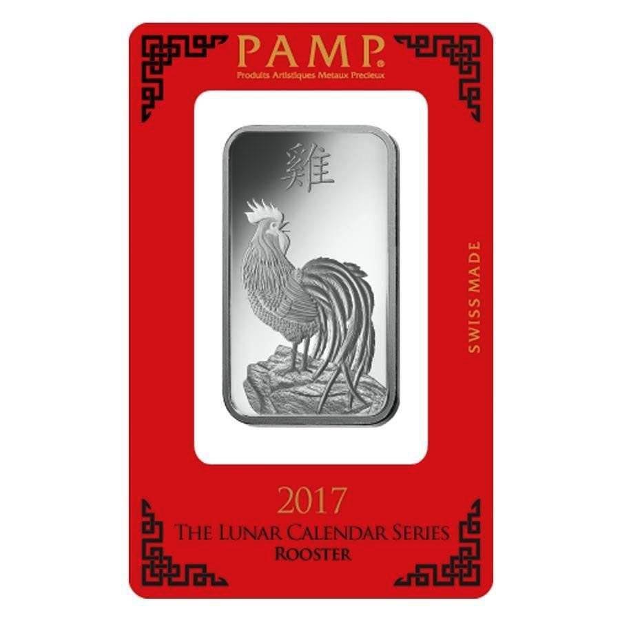 PAMP Suisse Silver Bar 1 oz - 2017 Rooster Design
