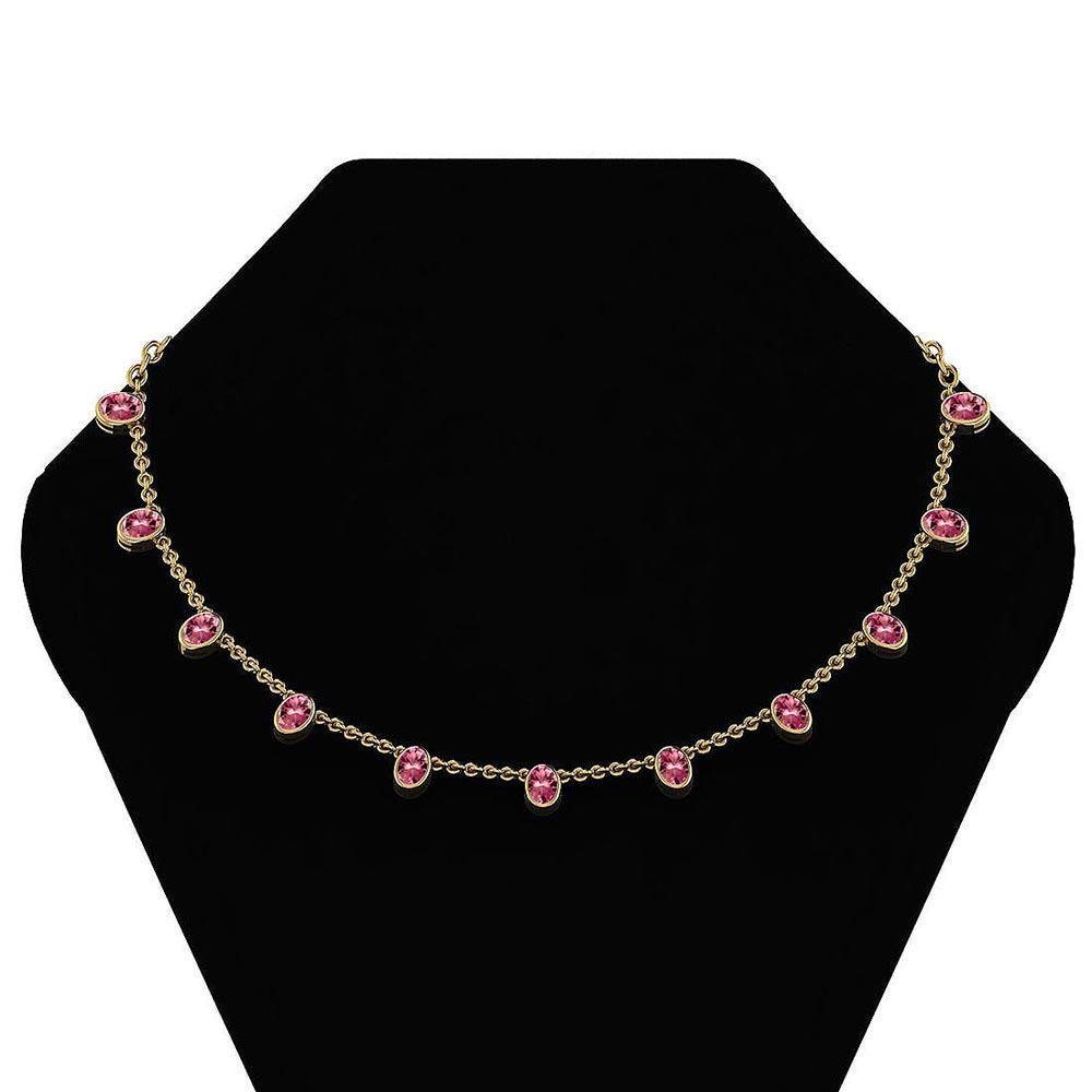 Certified 7.15 Ctw Pink Tourmaline Necklace 14K Yellow