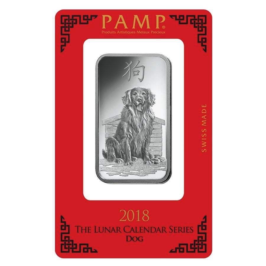 PAMP Suisse Silver Bar 1 oz - 2018 Dog Design