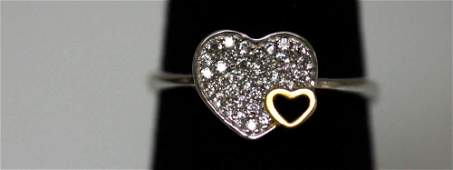 925 STERLING SILVER HEART RING W CLEAR CZ
