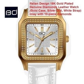 18K GOLD PLATED GENUINE DIAMOND WRIST WATCH