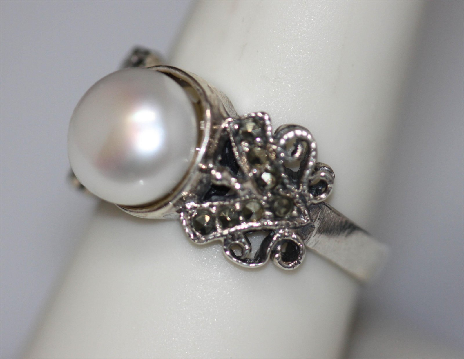PEARL RING .925 STERLING SILVER