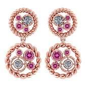 Certified 164 Ctw Pink Tourmaline And Diamond 14K Rose