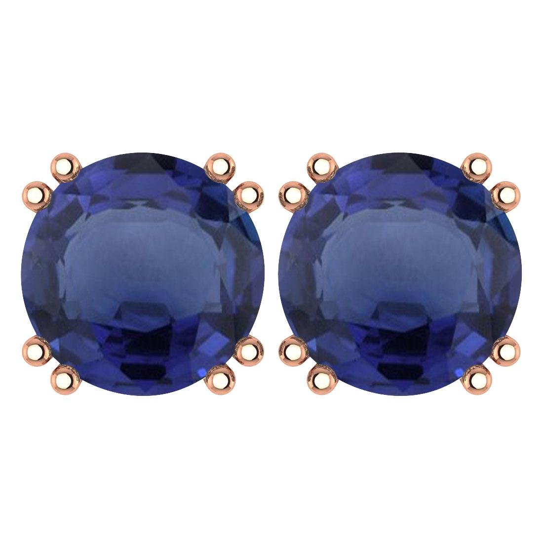 Certified 6.00 Ctw Genuine Blue Sapphire 14K Rose Gold