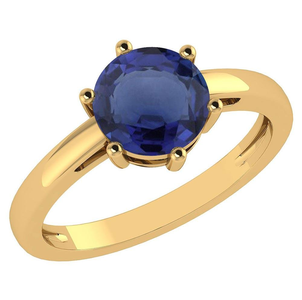 Certified 1.00Ctw Genuine Blue Sapphire 14k Yellow Gold