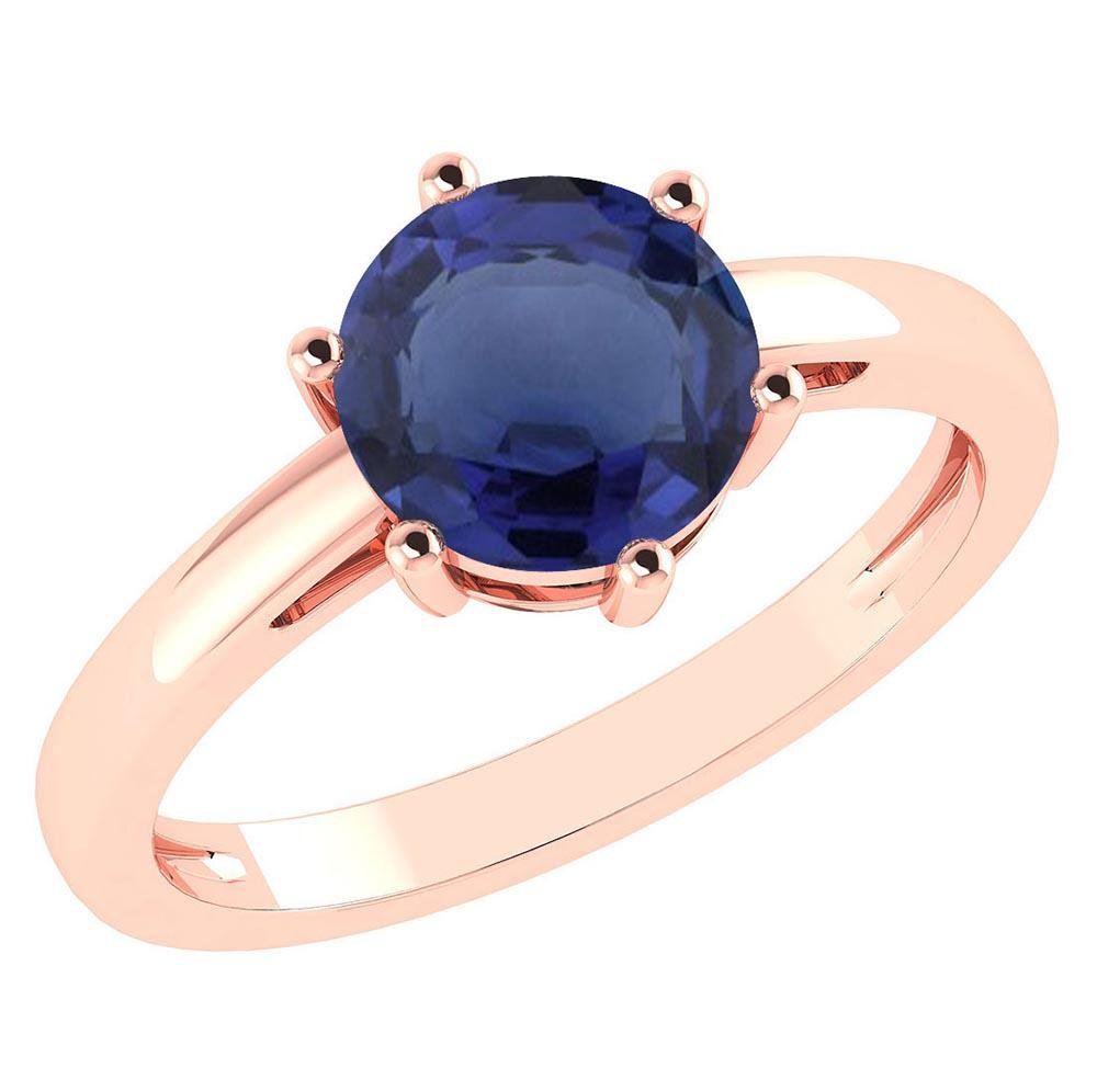 Certified 2.00Ctw Genuine Blue Sapphire 14k Rose Gold H