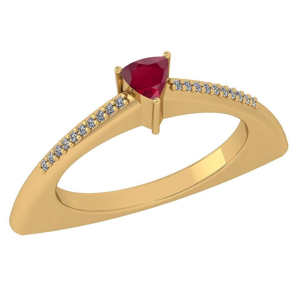 Certified 0.35 Ctw Ruby And Diamond 14k Yellow Gold Hal