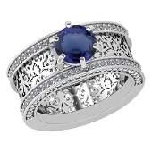 Certified 179 Ctw Blue Sapphire And Diamond WeddingEn