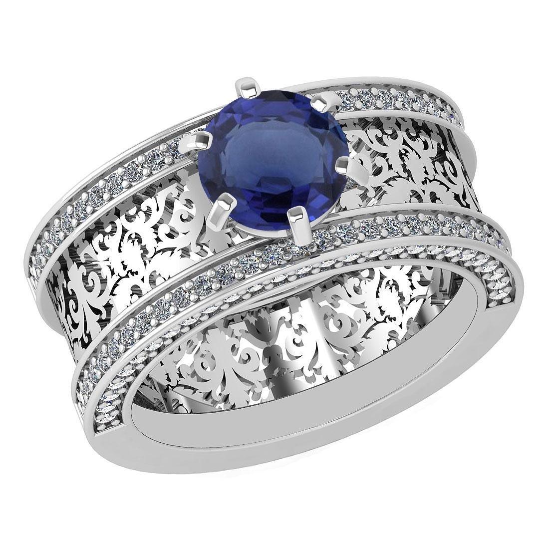 Certified 1.79 Ctw Blue Sapphire And Diamond Wedding/En
