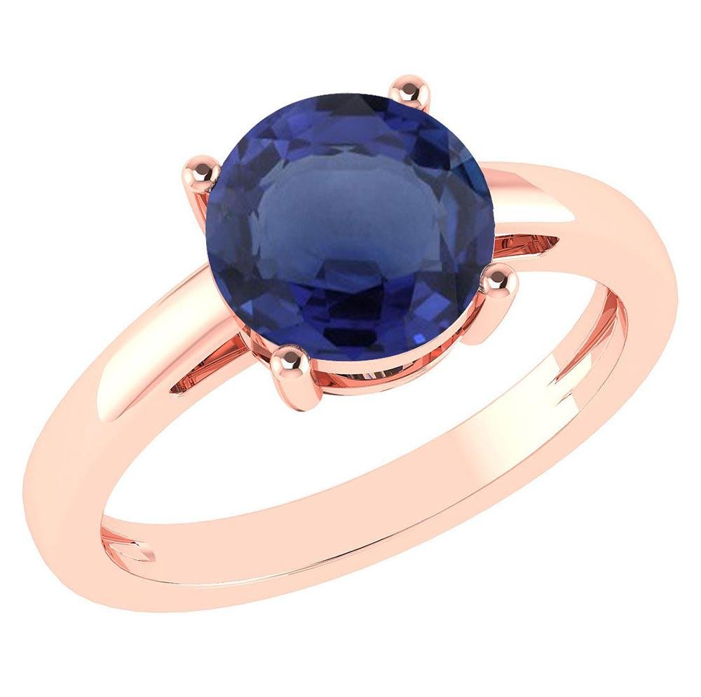 Certified 2.00Ctw Genuine Blue Sapphire 14k Rose Gold H
