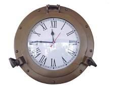 Antique Brass Decorative Ship Porthole Clock 12in