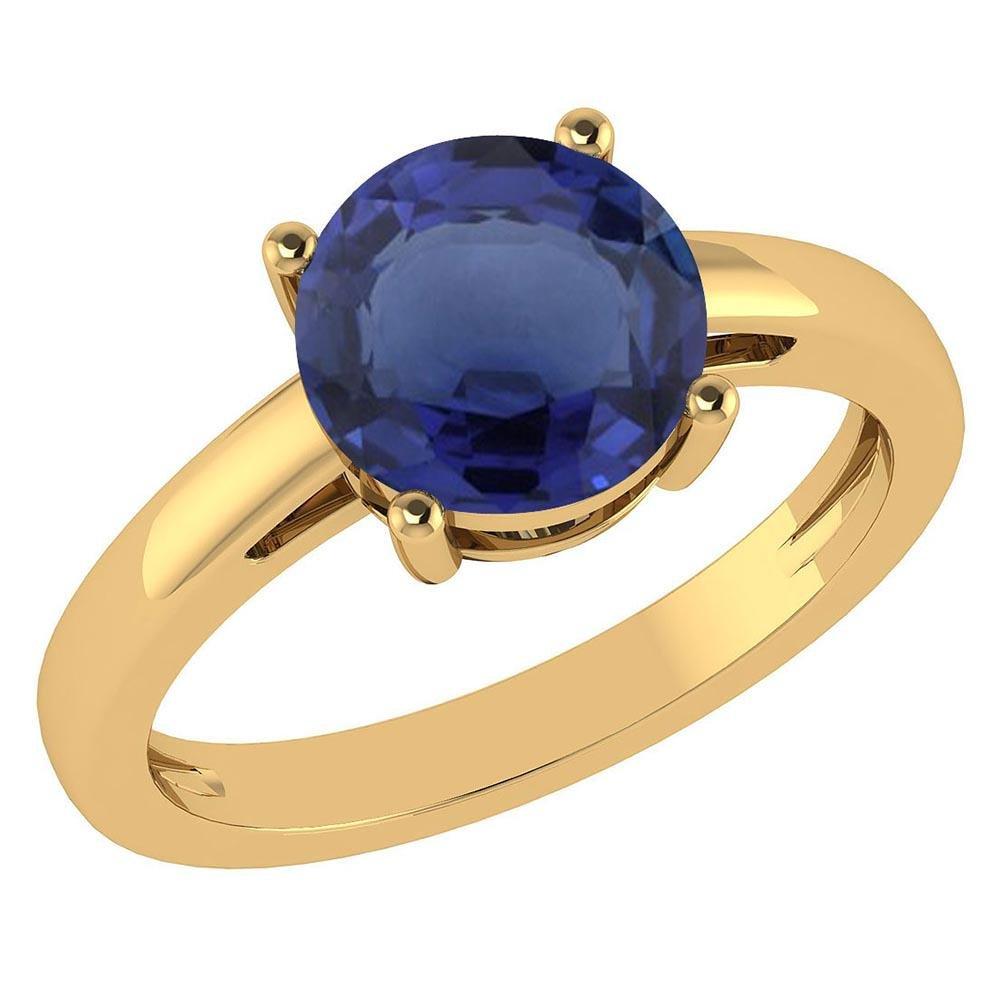 Certified 1.00Ctw Genuine Blue Sapphire 14k Yellow Gold