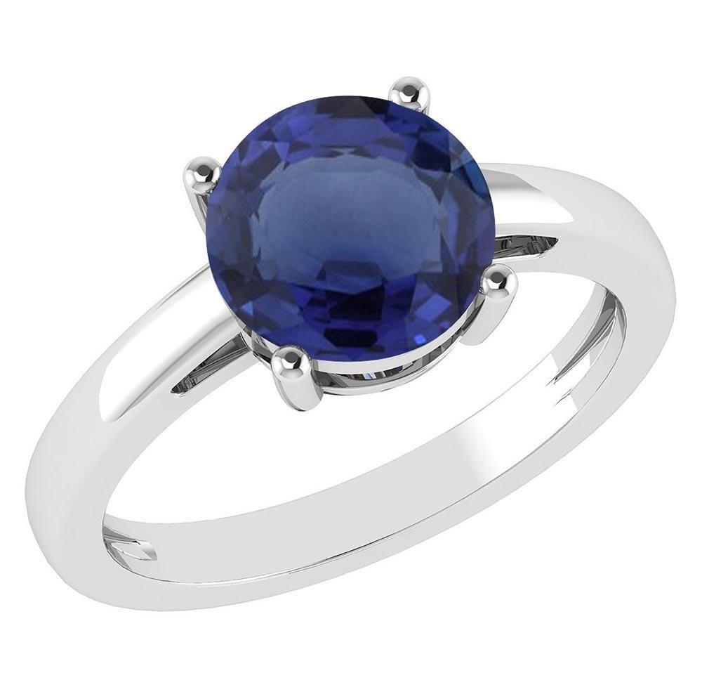 Certified 1.00Ctw Genuine Blue Sapphire 14k White Gold