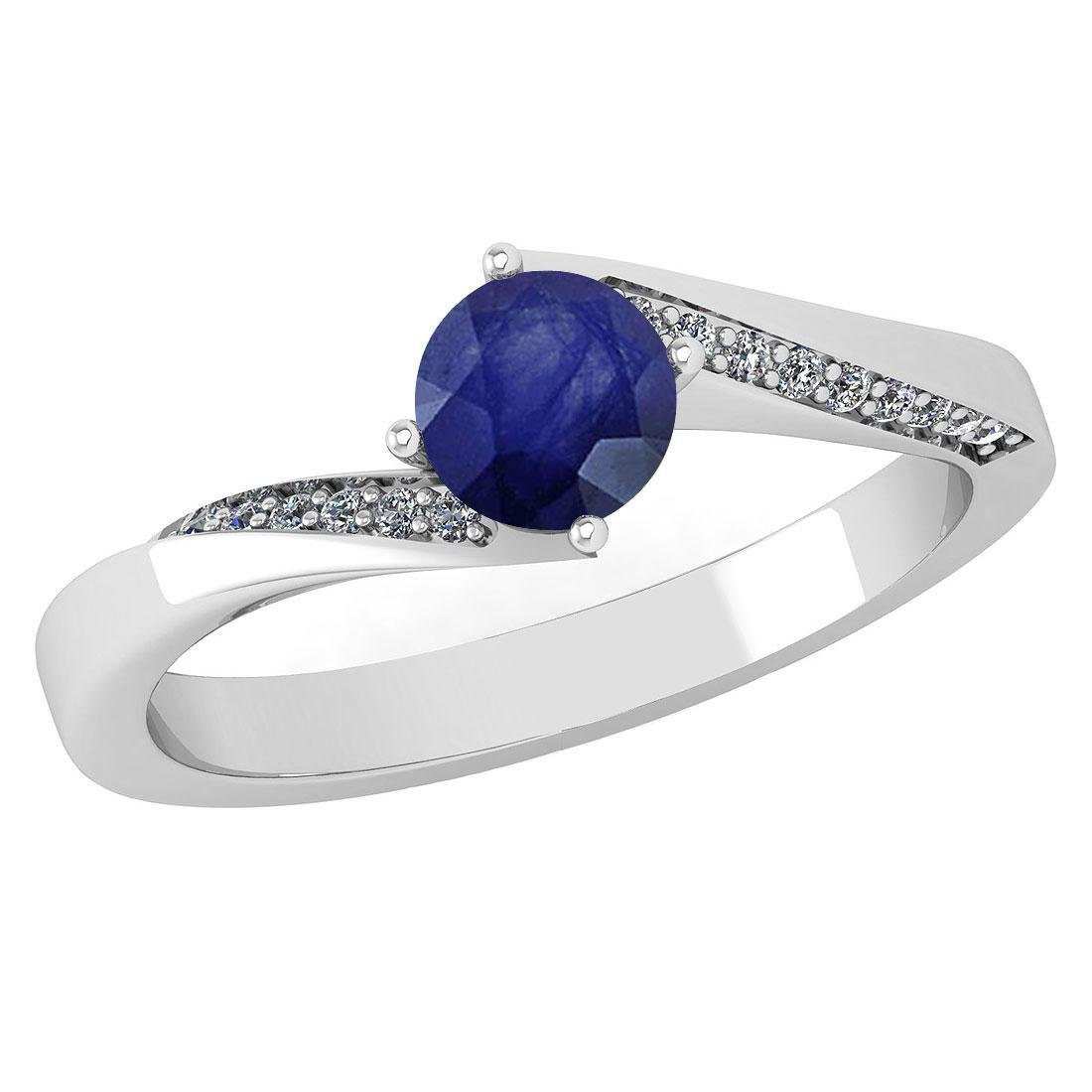 Certified 1.09 Ctw Blue Sapphire And Diamond 14k White
