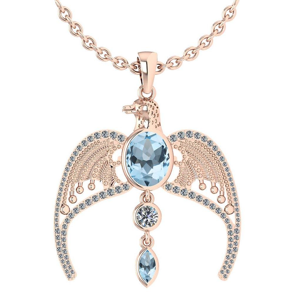 Certified 3.41 Ctw Aquamarine And Diamond Eagle Necklac
