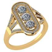 Certified 100 Ctw Diamond 18K Yellow Gold Halo Ring